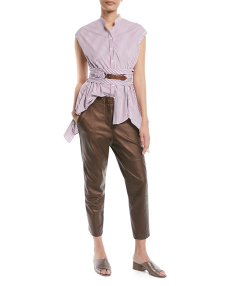 Metallic-Leather Cropped Straight-Leg Pants