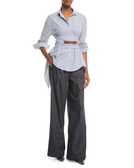 Wide-Leg Denim Pants with Monili Trim