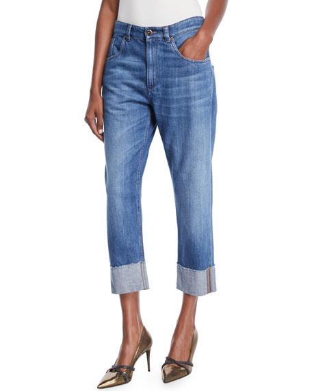 Brunello Cucinelli Straight-Leg Cropped Jeans with Monili Trim