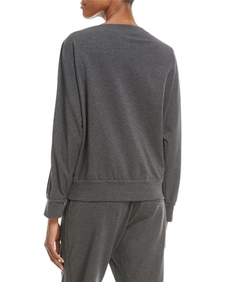 Long-Sleeve Pullover Sweatshirt w/ Monili Trim
