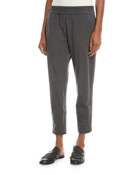 Brunello Cucinelli Cropped Cotton Jogger Pants with Monili