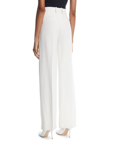 Adam High-Waist Wide-Leg Wool-Silk Pants