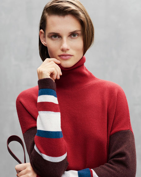 Turtleneck Long-Sleeve Striped Cashmere Sweater