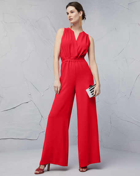 Irma Sleeveless Plunging Wide-Leg Jumpsuit