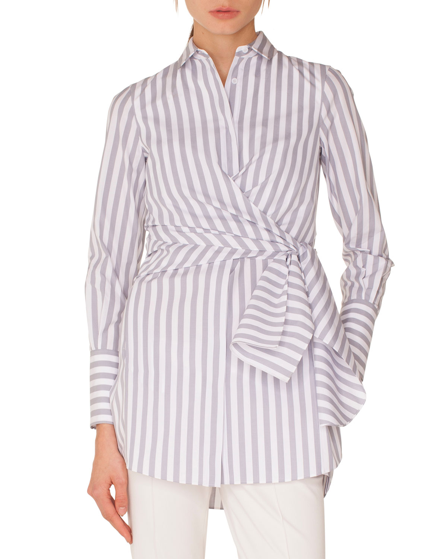 Akris punto Long-Sleeve Button-Down Wrap-Waist Striped Tunic Blouse ...