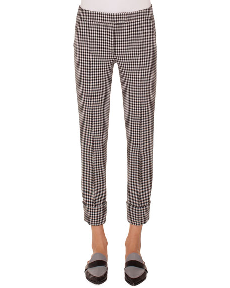 Frankie Check Woven Straight-Leg Crop Pants