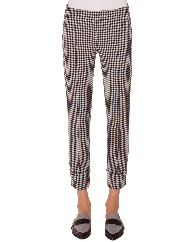 Akris punto Frankie Check Woven Straight-Leg Crop Pants | Neiman Marcus