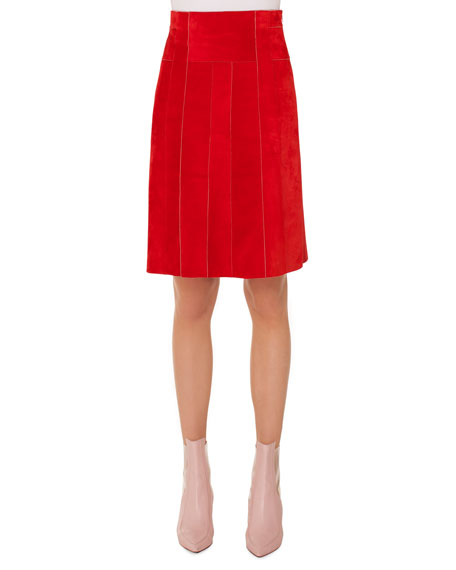 Side-Zip Suede Paneled A-Line Knee-Length Skirt