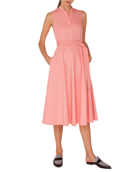 Akris punto Sleeveless Button-Front Belted A-Line Cotton Midi