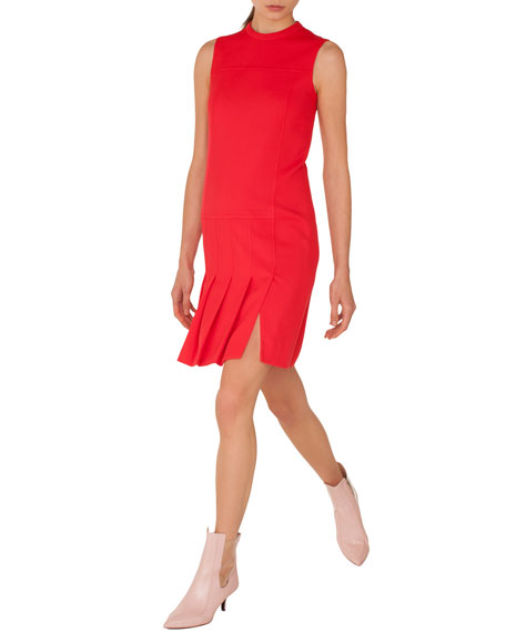 Akris punto Sleeveless Crewneck Wool Shift Dress with