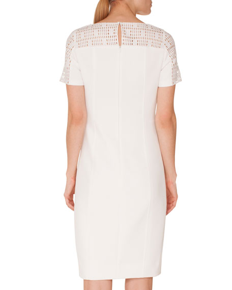 Crewneck Lace-Shoulder Short-Sleeve Jersey Sheath Dress