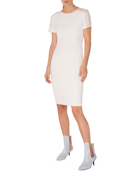 Crewneck Lace-Shoulder Short-Sleeve Jersey Sheath Dress