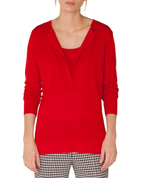 Long-Sleeve Split-Neck Wool Blouse