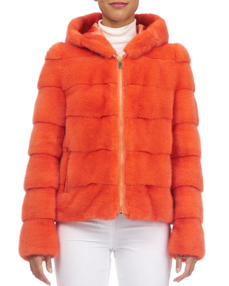 Horizontal Mink Hooded Zip-Front Parka Coat