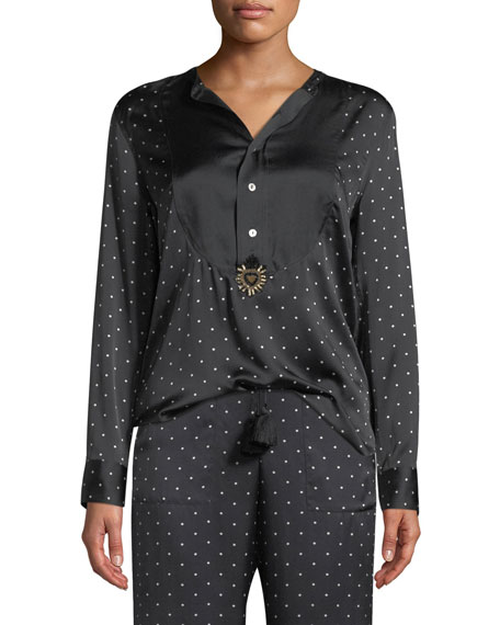 Figue Milagro Long-Sleeve Dot-Print Silk Tux Shirt and