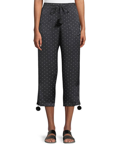 Figue Fiore Dot-Print Pull-On Pajama Silk Satin Ankle