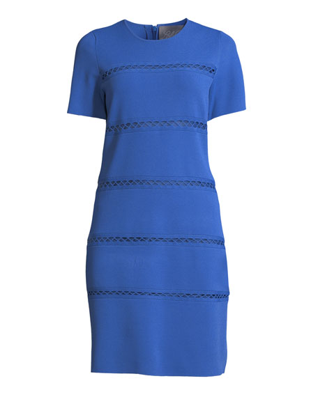 Short-Sleeve Crewneck Sheath Dress with Cross-stitch Detailing