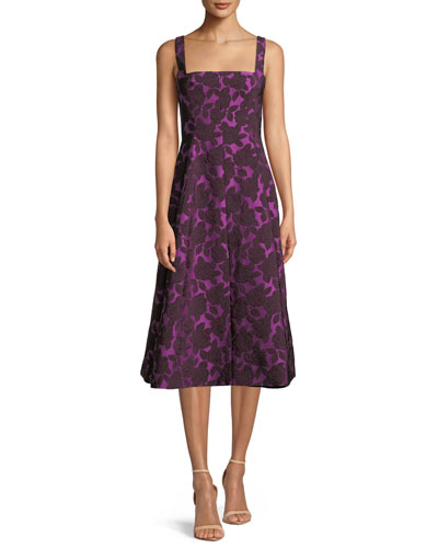 Square-Neck Sleeveless Floral-Jacquard Fit-and-Flare Dress