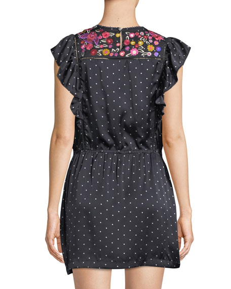 Theresa Aztec-Dot Floral-Embroidered Bib Cap-Sleeve Silk Satin Dress