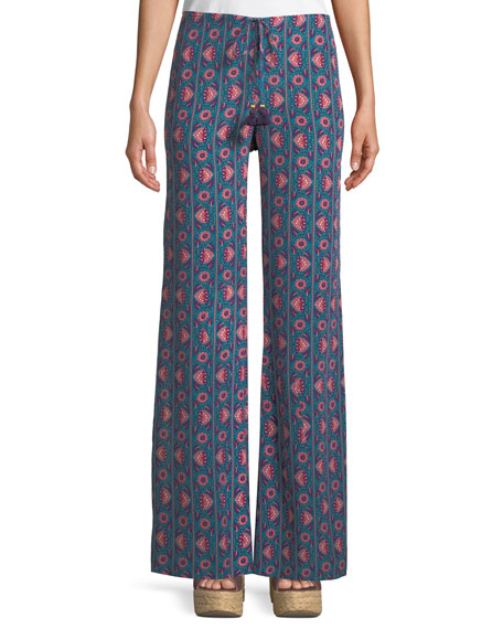 Ipanema Floral-Stripe Split Wide-Leg Silk Pull-On Pants