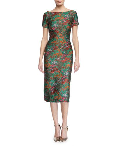 Wildflower Jacquard Short-Sleeve Sheath Dress