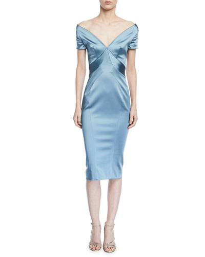 Gathered-Sleeve Off-the-Shoulder Sheath Dress