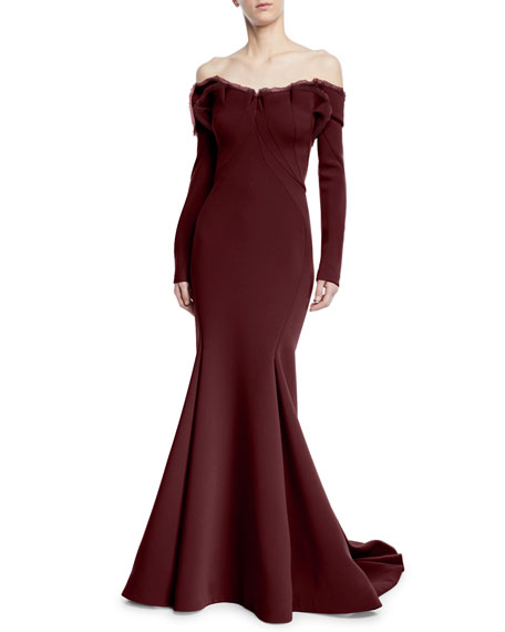 Long-Sleeve Off-the-Shoulder Gown w/ Train