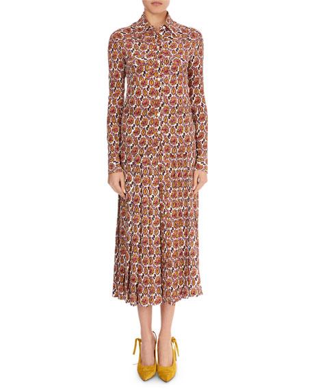 Victoria Beckham Paisley Crepon Long-Sleeve Top