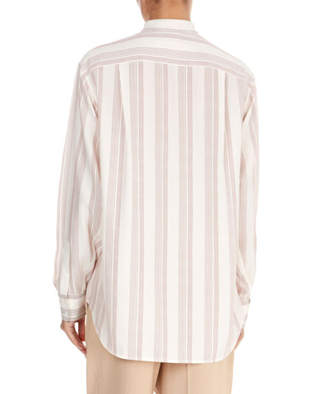 Silk Striped Grandad Top