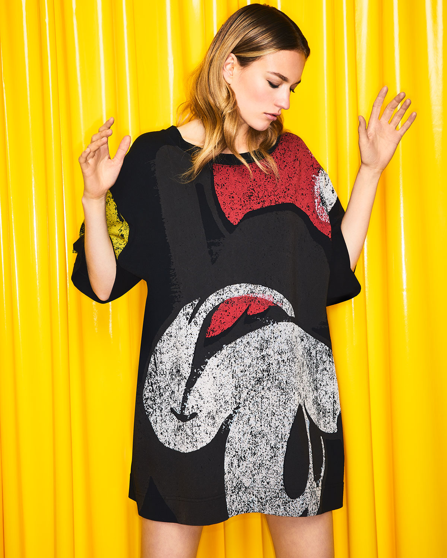 9659bd4a5dae7 Marc Jacobs Crewneck Short-Sleeve T-Shirt Dress with Mickey-Print   Neiman  Marcus