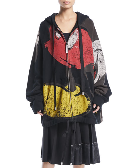 Marc Jacobs Mickey-Print Zip-Front Oversized Hooded Sweatshirt