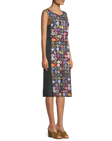 Sleeveless A-Line Badges-Print Dress