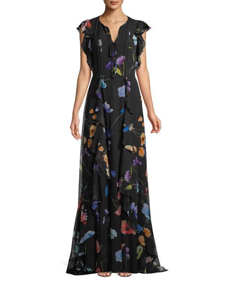 Floral-Print Ruffle A-Line Silk Evening Gown