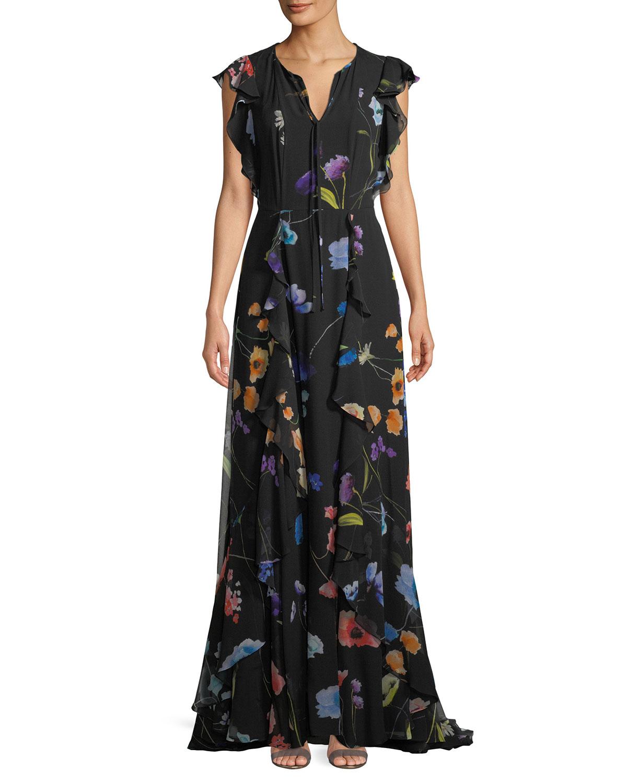 Escada Floral-Print Ruffle A-Line Silk Evening Gown | Neiman Marcus