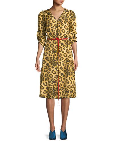 V-Neck 3/4-Sleeves Belted Leopard-Print Dress w/ Contrast Back