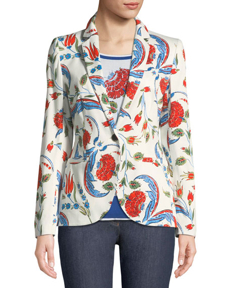 Iznik Pottery-Print One-Button Blazer