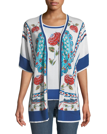 Open-Front Short-Sleeve Floral-Print Cardigan
