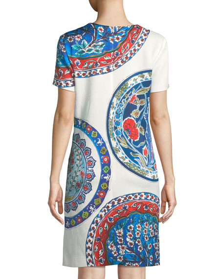 Short-Sleeve Pottery-Medallion Print Chemise Dress