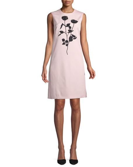 Sleeveless Floral-Embroidered Sheath Dress