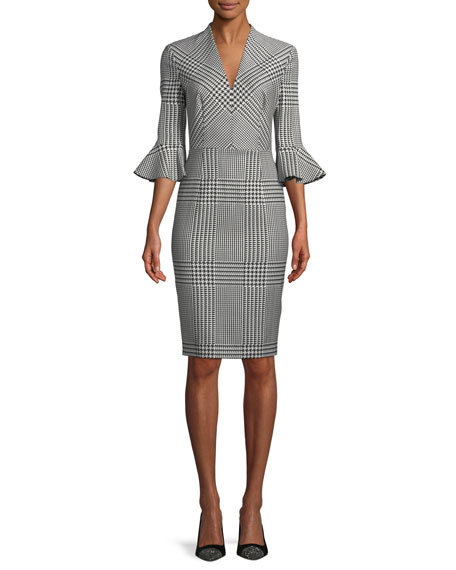 V-Neck Bell-Sleeve Houndstooth Sheath Dress