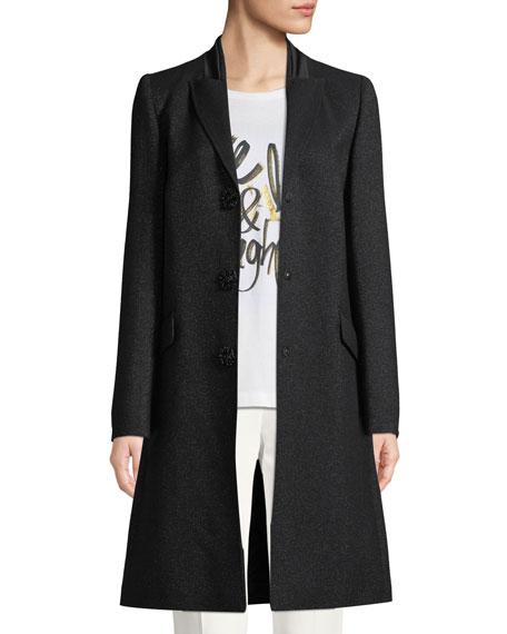 Jeweled Snap-Front Metallic Wool Tuxedo Coat