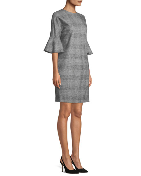 V-Neck Bell-Sleeve Glen-Plaid Sheath Dress