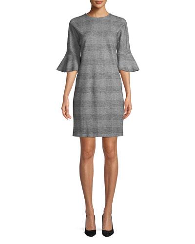 V-Neck Bell-Sleeve Glen-Plaid Sheath Dress