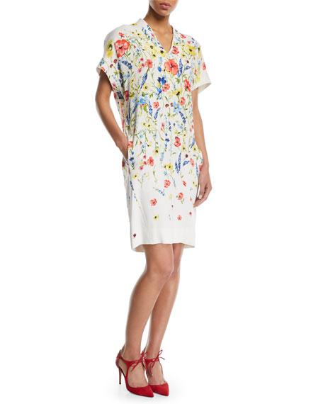 Escada V-Neck Floral-Print Chemise A-Line Dress