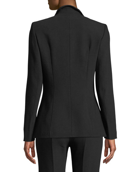 Image 2 of 3: Notch-Collar One-Button Side-Slit Wool-Blend Jacket