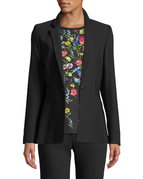 Image 1 of 3: Notch-Collar One-Button Side-Slit Wool-Blend Jacket