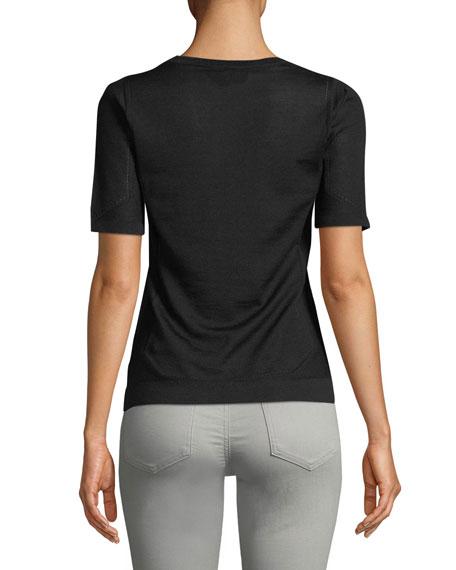 Crewneck Short-Sleeve Pullover Pointelle Top