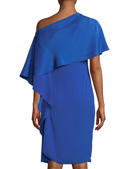 Diane One-Shoulder Satin Back Crepe Sheath Dress