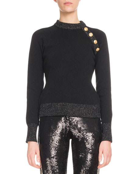 Balmain Long-Sleeve 4-Button Cashmere Sweater and Matching Items