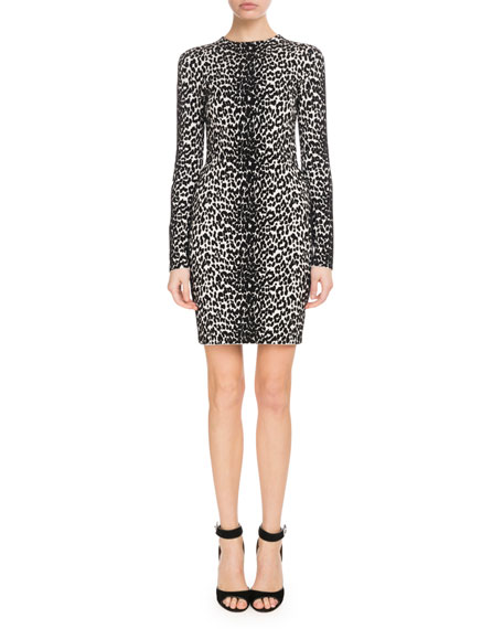 Long-Sleeve Leopard-Jacquard Body-Con Dress, Black/White
